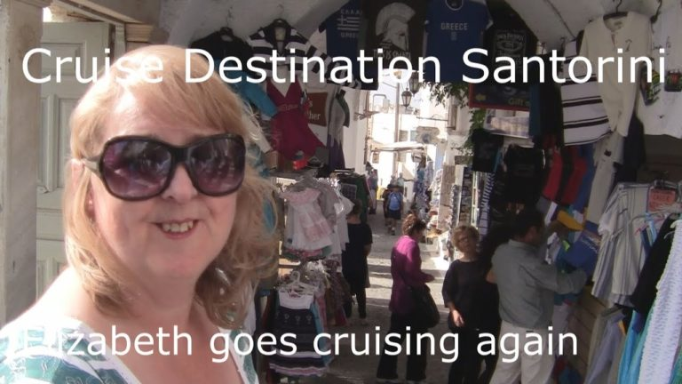 Santorini, the Lost City of Atlantis. Elizabeth cruises in on Ruby Princess