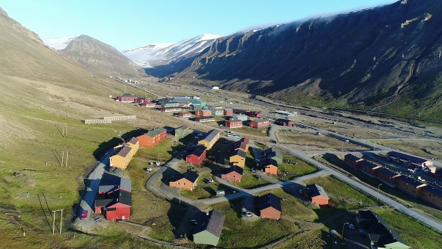 Longyearbyen, Norway – overview from the air by DRONE