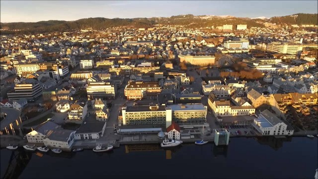 HAUGESUND, Norway. Over view from the air DRONE