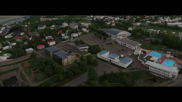 AKUREYRI, Iceland overview from the air by DRONE