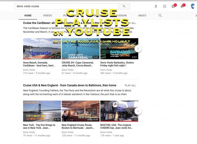 Our YouTube Channel has ports and destinations in cruise route playlists